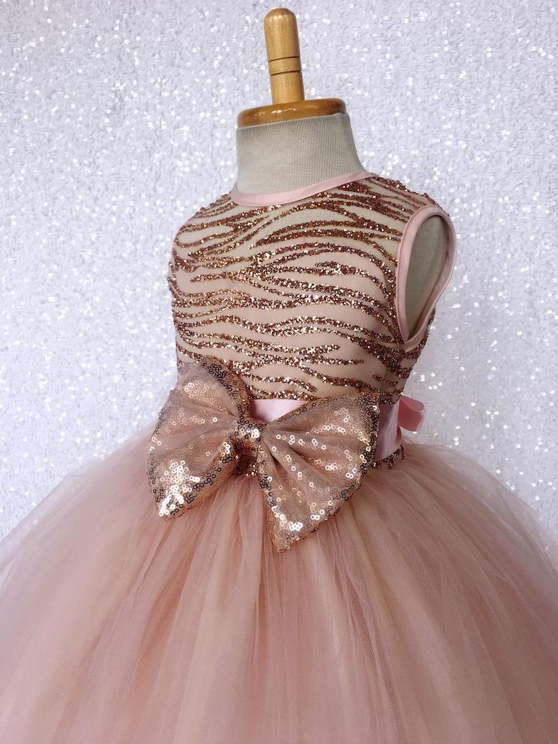 3dd04fb20 Blush Glitter Striped Rose Gold Satin Tulle Sleeveless Dress | Etsy
