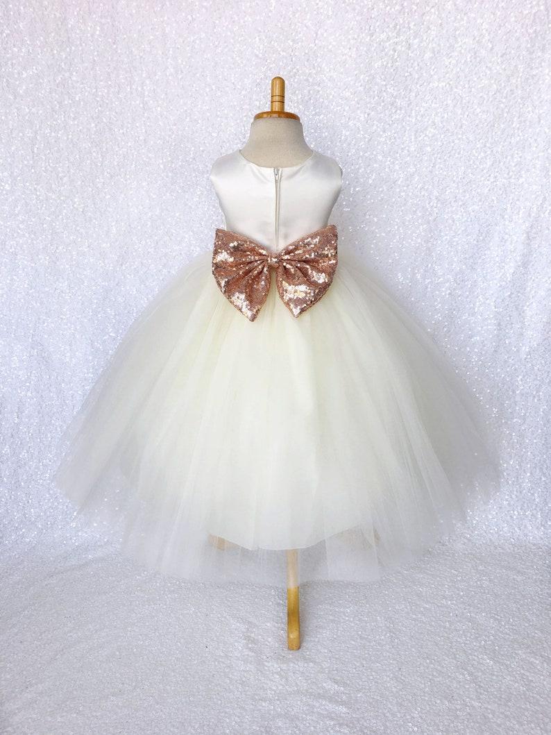 3f583b4de53 Rose Gold Sequin Bow Ivory Satin 4 Layer Tulle Flower Girl