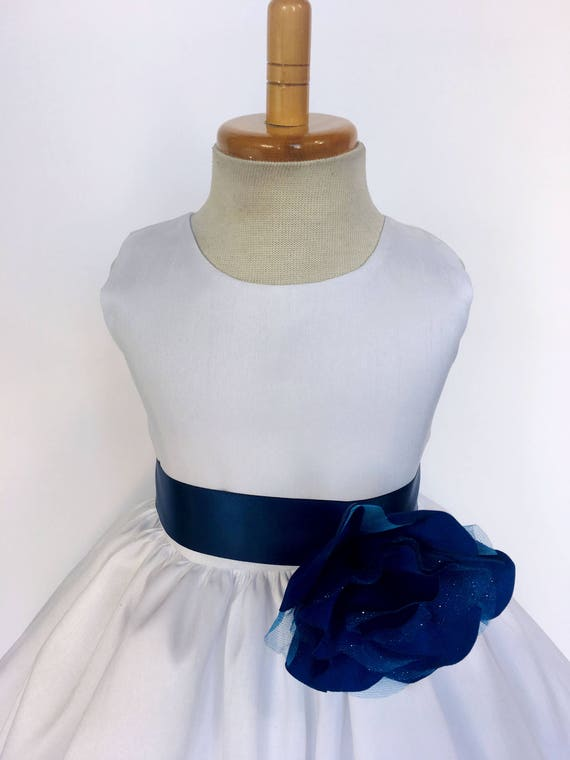 31fb7290aba5 Classic Baptism Floral Navy White Sleeveless Shantung Gown