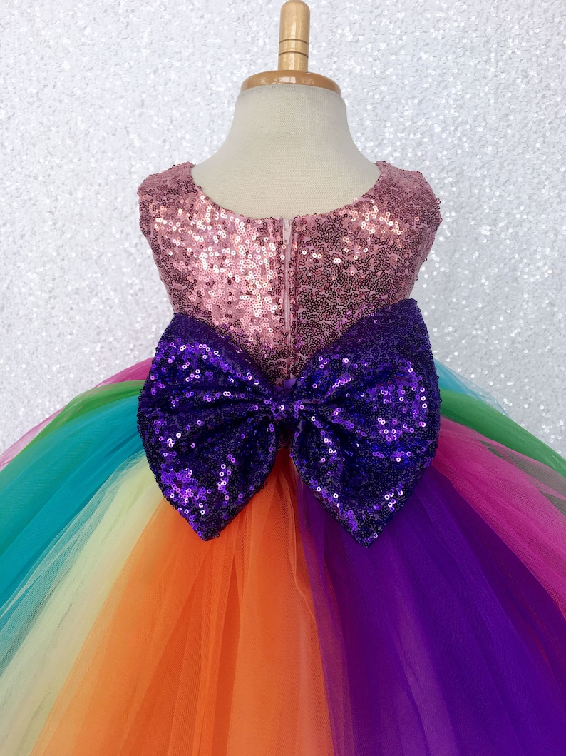 18caa6d30 Birthday Sequence Rainbow Tulle Bow Flower Girl Dress Toddler | Etsy