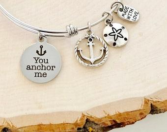 You Anchor Me Bangle Bracelet Nautical Stainless Steel Beach Coastal Sand Dollar Friend Gift