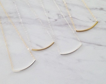 Simple Tube Necklace | Mixed Metal Necklace | Gold Tube Necklace | Sterling Silver Tube Necklace | Layering Necklace | Simple Dainty Jewelry