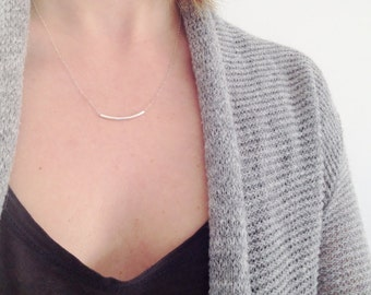 Sterling Silver Tube Necklace   Curved Tube Necklace   Minimalist Necklace   Silver Bar Necklace   Everyday Necklace   Simple Dainty Jewelry