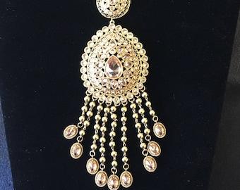 Gorgeous gold plated imitation Polki stones necklace set
