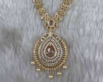 Gorgeous gold plated imitation American Diamond Necklace Set