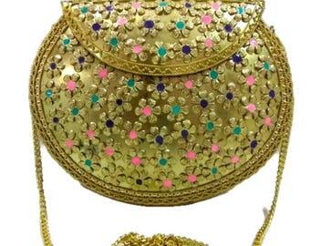 Stylish fashionable handmade women metal clutch purse