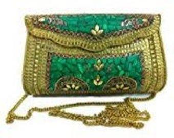 Stylish fashionable handmade women metal clutch bag