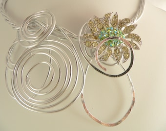 Silver wire statement necklace.Big and Bold.