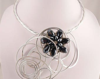 Silver wire statement necklace.Beautiful navy rhinestone brooch.Big and Bold.