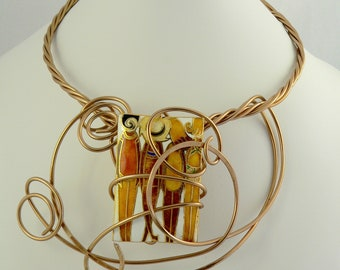 Copper and gold ,Unique wearable art.Big and Bold.