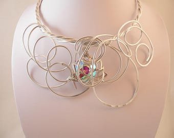 Big,Bold and Chunky.Silver wire statement necklace.