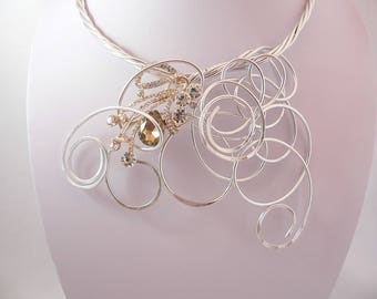 Silver wire statement necklace.Unique wearable art.Gold and silver.