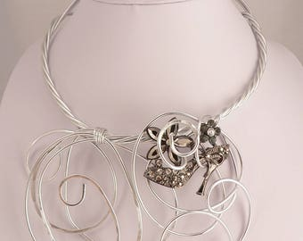 Statement silver wire necklace.Big Bold and Chunky.Unique wearable art.