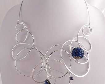 Unique wearable art necklace.Blue and silver.Bold and Chunky.
