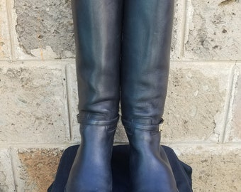 553adf91886 Women s Black Leather GUCCI EQUESTRIAN Riding Boots Made in Italy Eu-39 Us-9