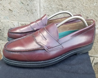 f7db76a50ea Men s Vintage Burgundy Leather RED WING 8650 Penny Loafers Work Dress  Size-12