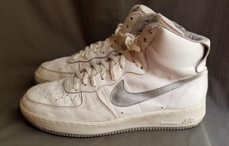 White NIKE Air Force 1 OG 1983 Basketball Hi Top Sneakers Sz 13 Made in Korea