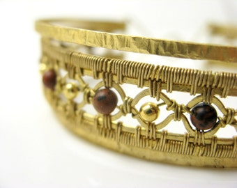 size small antiqued onyx brass bracelet interlok cuff garnet 6.
