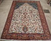 Tree of Life Carpet, Area Rug, Bird Area Rug, Hand Knotted Rug, Wool Silk Rug, Silk Carpet, Bedroom Rug, Hand Knotted Rug, Carpet, 9x6 Ft