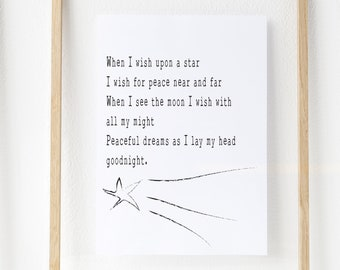 A4 digital download, when I wish upon a star poem, when I wish upon a star original poem, bedroom prayer, bedtime poem, bedtime qoute, print