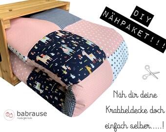 Sterne Rosa Grau Babydecke Patchworkdecke DIY Nähpaket Krabbeldecke