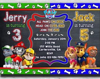 Chalkboard Paw Patrol Birthday Invitation For Twin Boys