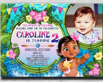 Moana Invitation Baby Photo Printable Birthday Party Invite Digital Card