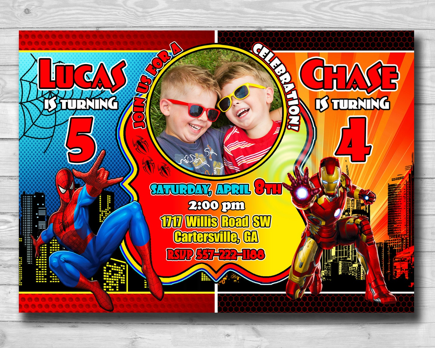Double Birthday Invitation-Superhero Birthday Party-Iron Man | Etsy