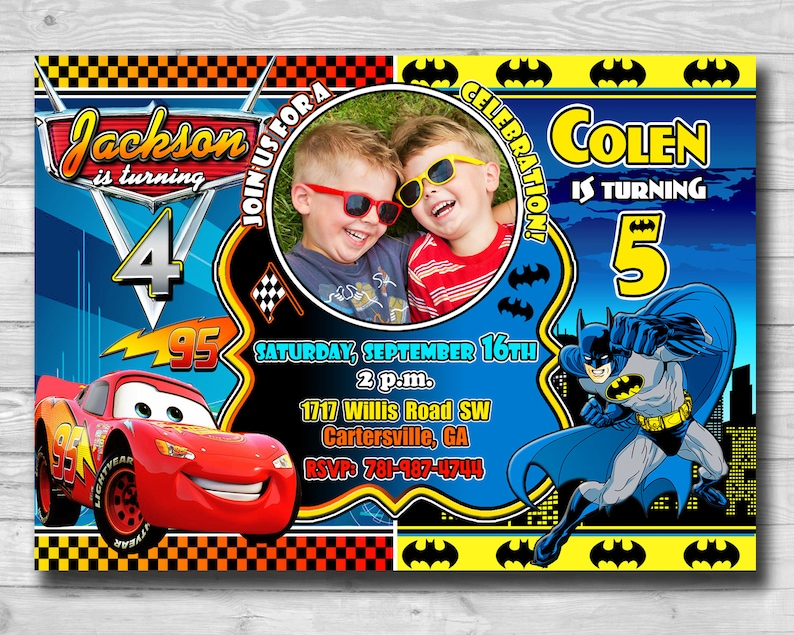 Printable Lighter McQueen Batman Invitation DC Superhero For Twins Siblings Birthday Card Inspired By And Disney Cars 3