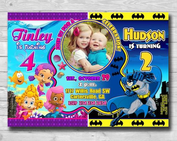 Urodziny Rodzeństwa Zaproszenie Bliźniaki Zaproszenie Batman Etsy