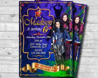 The Descendants Invitation-Descendants 2 Invitation-Descendants Invite-Mal and Evie Descendants Invitation-Descendants Birthday-Printable