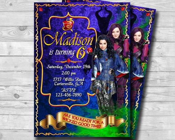Disney Descendants 2 Invitation Birthday Party Invite