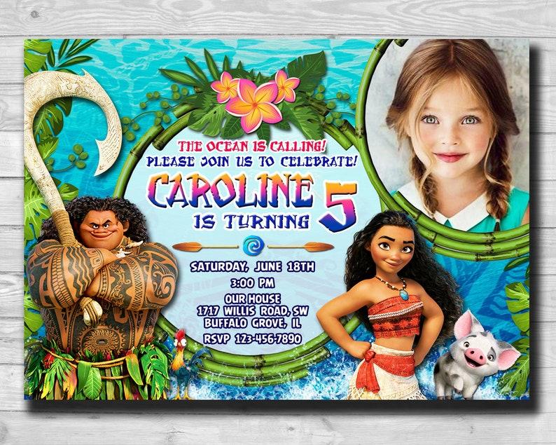 Moana Birthday Invitation Party Maui