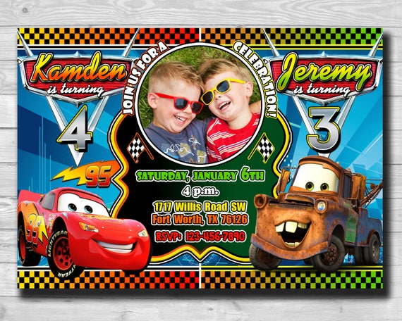 Cars Invitation 2 Birthday Twins Disney Lightning McQueen Photo