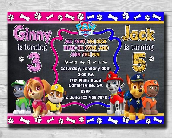 Chalkboard Paw Patrol Invitation Birthday