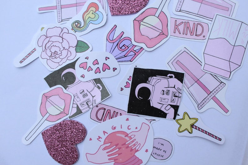 Pink aesthetic stickers | Etsy