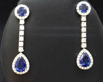 Glorious Sapphire and diamond drop earrings