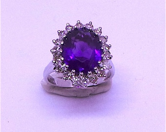 Wonderful Amethyst and Diamond Engagement ring