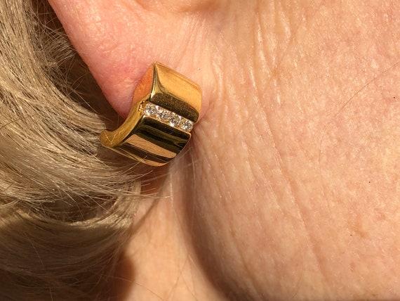 Splendid 18 Carat Gold Cultured Pearl Diamond Half Creole Hoop Earrings.