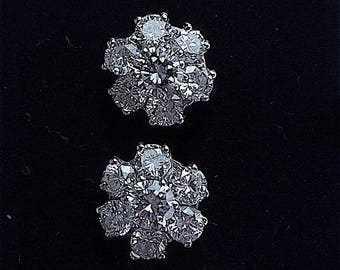Bright sparkling diamond cluster earrings