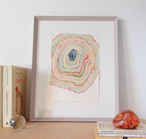 Cuadro abstracto de formas orgánicas pintura abstracta en | Etsy