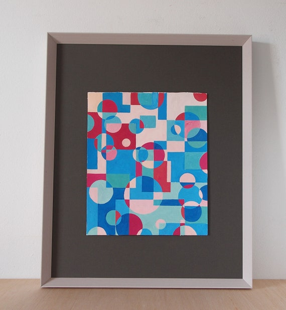 Geometric Abstraction Squares And Circles Original Gouache Painting Abstract Geometrical Shapes Small Modern Abstract Inusual Painting
