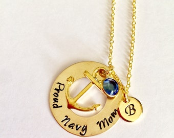 "Gold Brass Custom ""Proud navy mom"" Marine, Anchor Necklace, Navy Mom Gift"