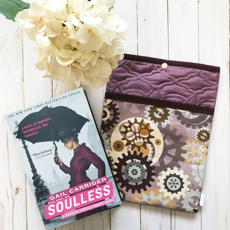 Steampunk Inspired Quilted Book Sleeve With Pocket  image 0