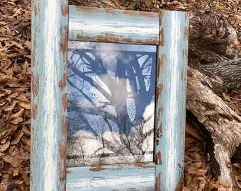 """11x14 Antiqued Mirror with """"Oak Tree"""" Pattern in Rustic Distressed Wood Frame"""