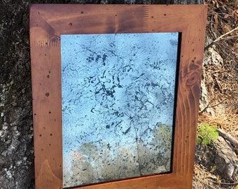 11x14 Antiqued Mirror with Woodgrain Frame