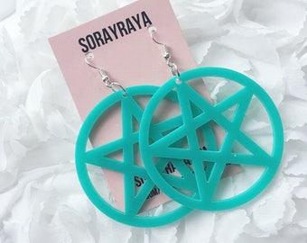 Turquoise Pentagram Earrings