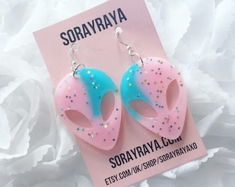 Pink & Blue UFO Earrings