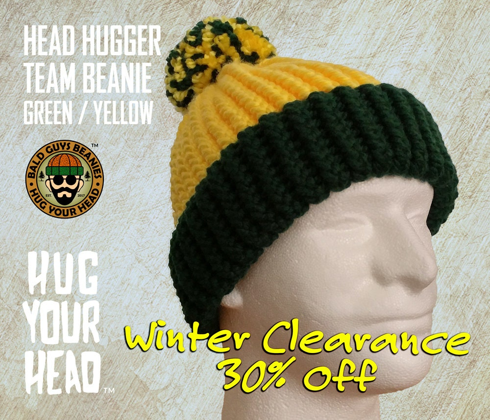 Green and Yellow Beanie with Pom Pom Yellow and Green Knit  edf83751a29