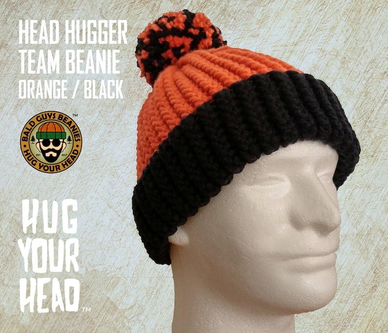 7644fbb38a9 Orange and Black Beanie Hand Knit Orange and Black Knit